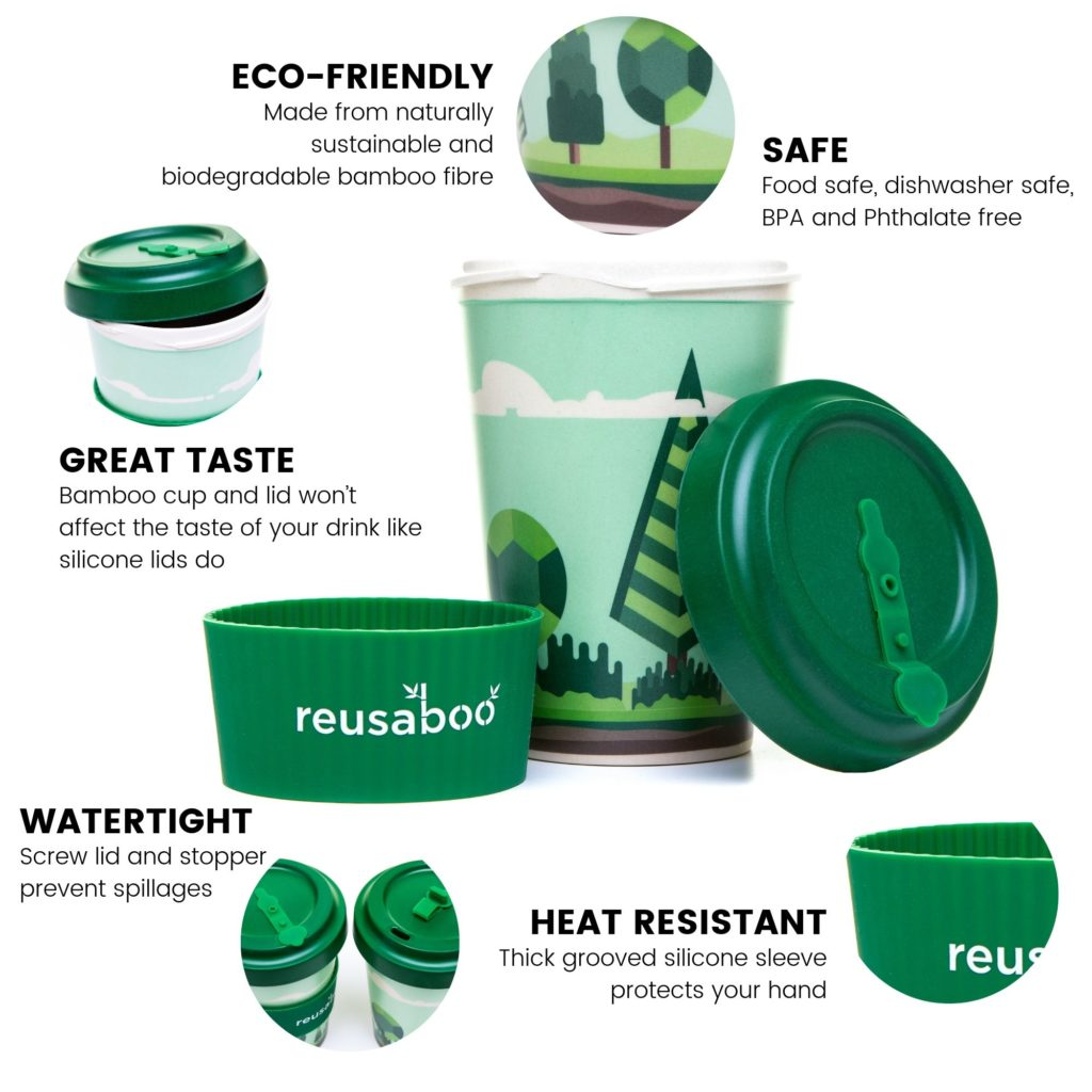 Reusaboo | Reusable Bamboo Coffee Cup | Forest Design | 16oz / 450ml | Product Benefits Inforgraphic