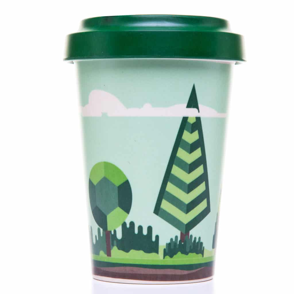 Reusaboo | Reusable Bamboo Coffee Cup | Forest Design | 16oz / 450ml | Bamboo Screw Lid