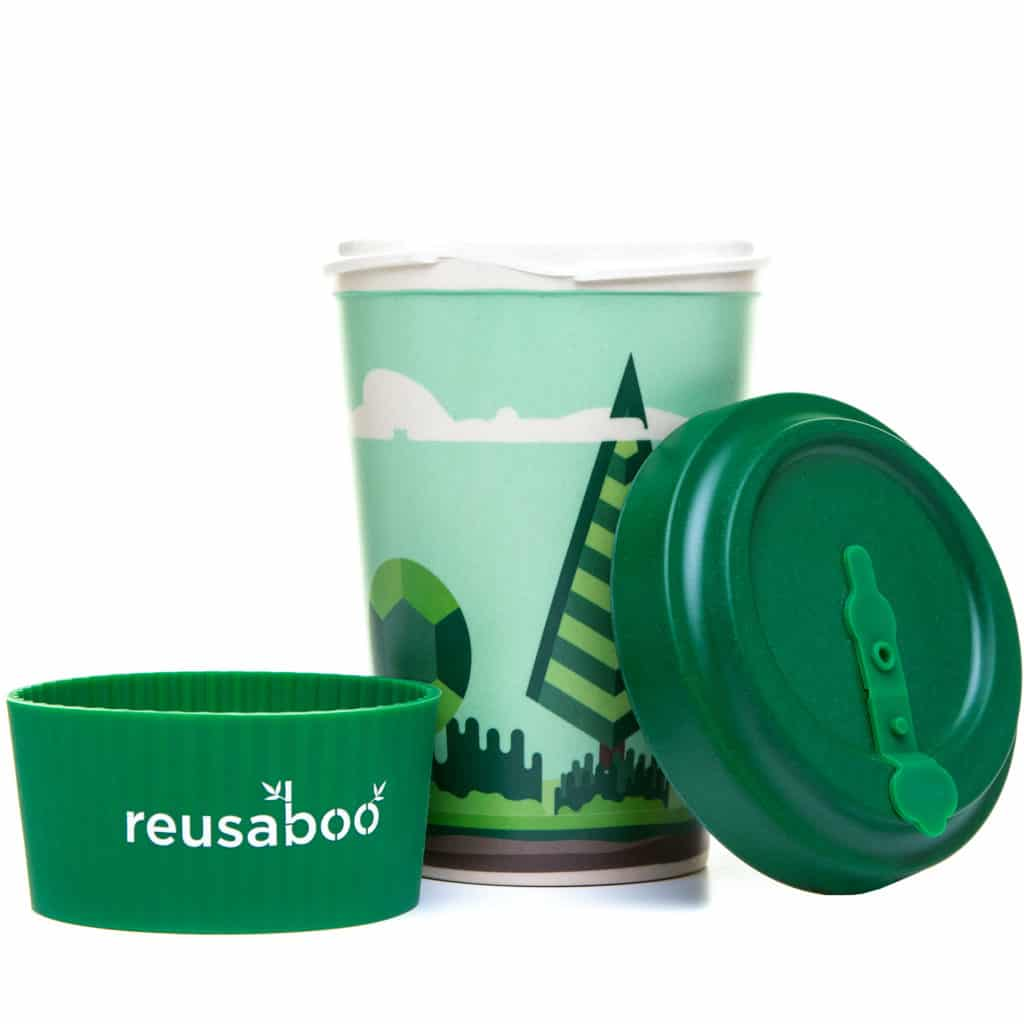 Reusaboo | Reusable Bamboo Coffee Cup | Forest Design | 16oz / 450ml | Bamboo Screw Lid and Silicone Sleeve
