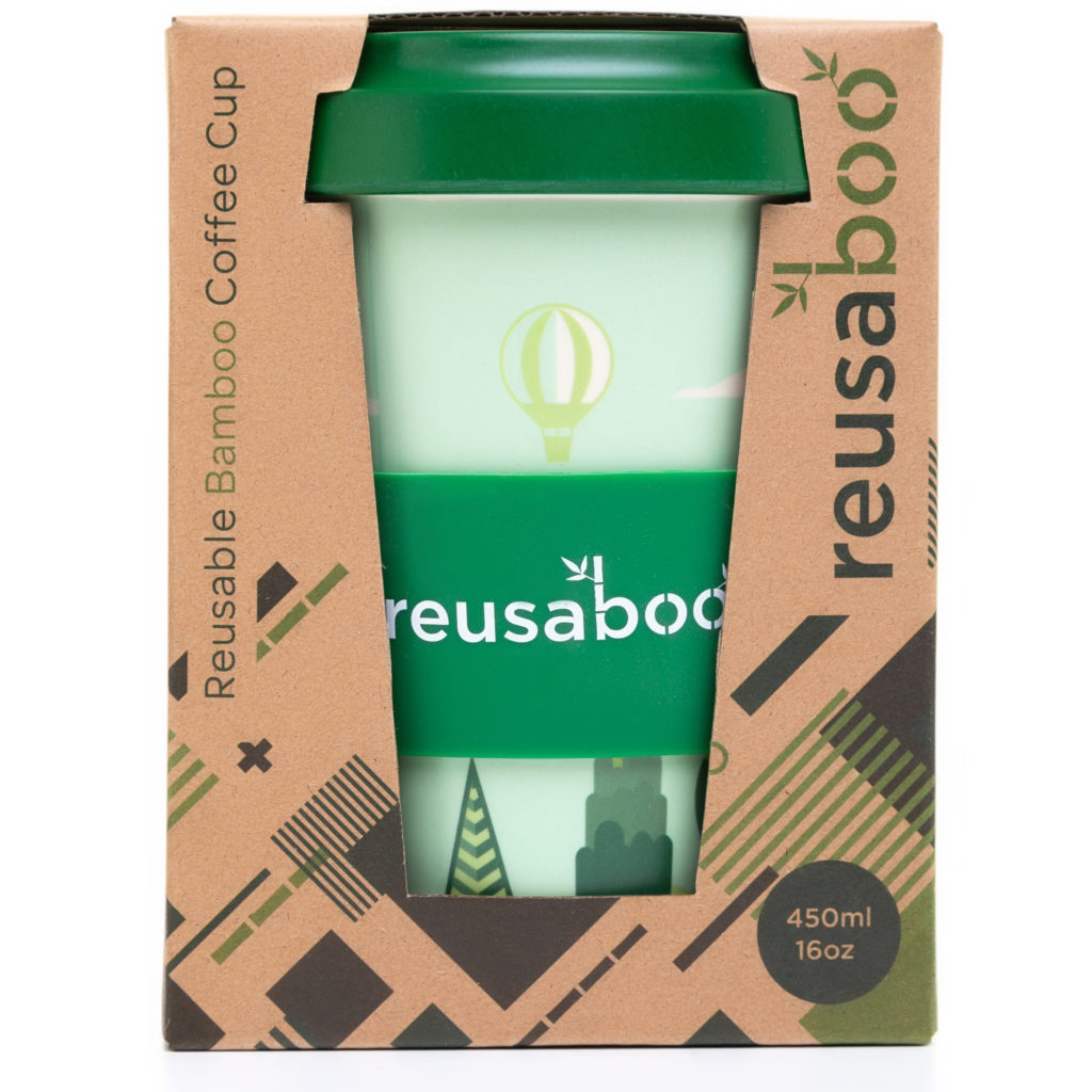 Reusaboo | Reusable Bamboo Coffee Cup With Packaging | Forest Design | 16oz / 450ml | Bamboo Screw Lid