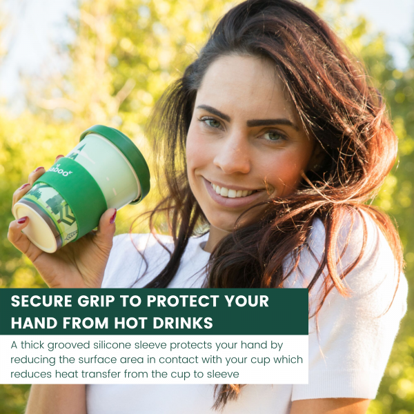 REUSABOO BAMBOO COFFEE CUP | SECURE GRIP TO PROTECT YOUR HAND FROM HOT DRINKS INFOGRAPHIC