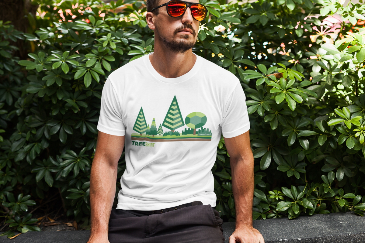 Tree Shirt Male Lifestyle White | Reusaboo