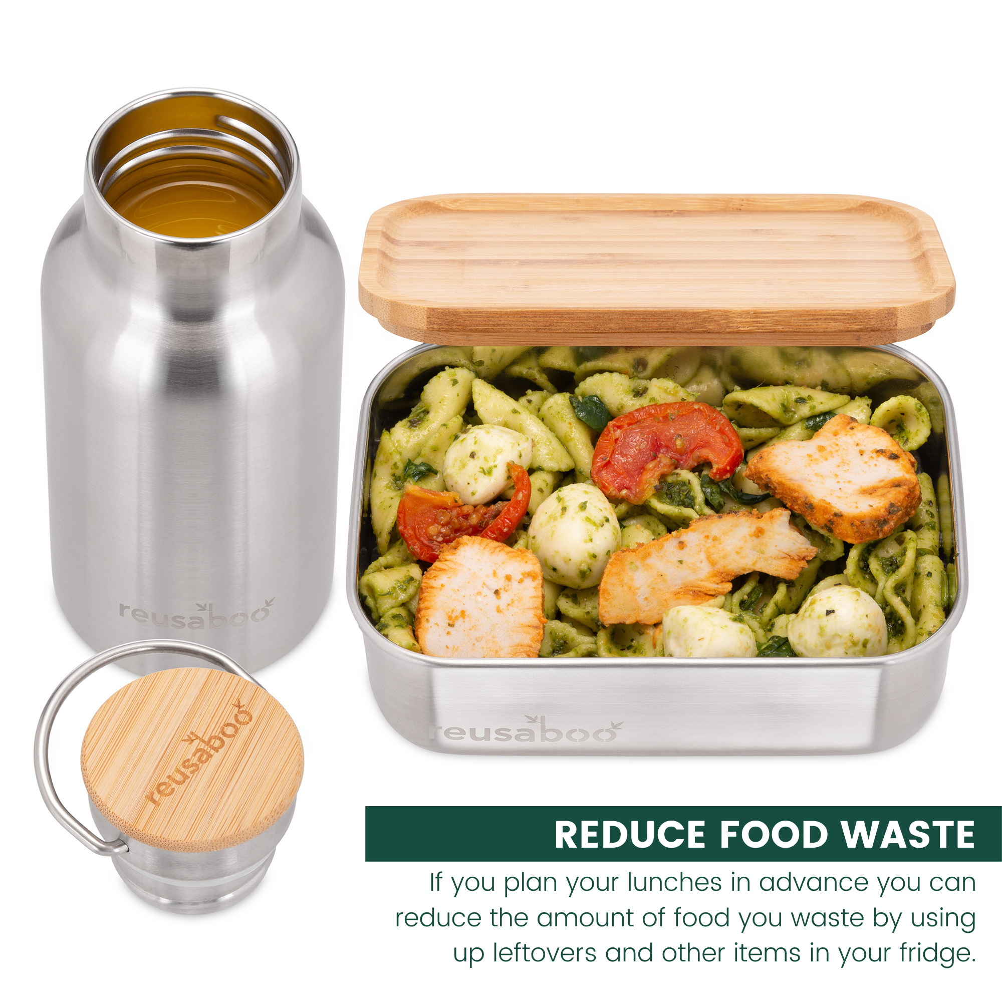 Reusaboo Stainless Steel Lunch Box and Bottle with Food and Juice