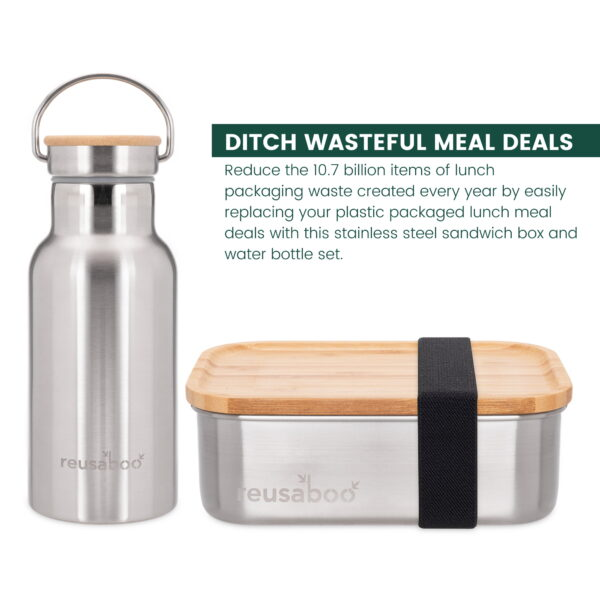 Reusaboo Stainless Steel Lunch Box and Water Bottle Set