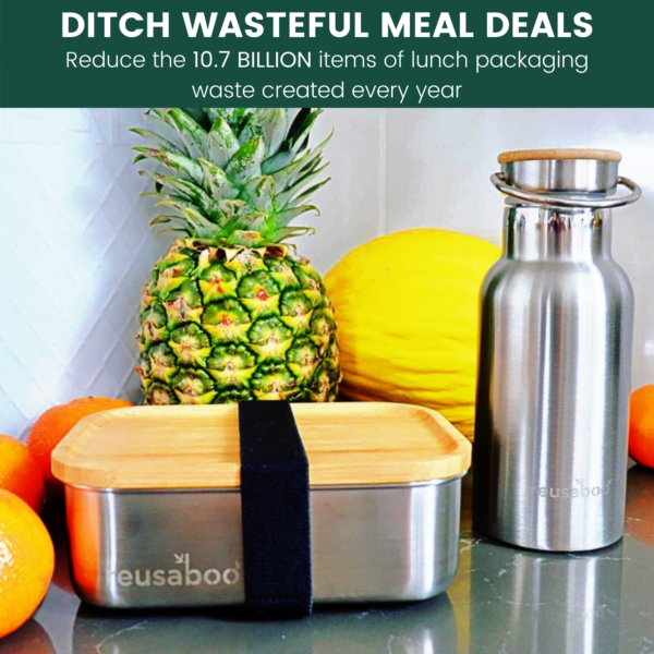Reusaboo Stainless Steel Lunch Box and Water Bottle Set Ditch Meal Deals