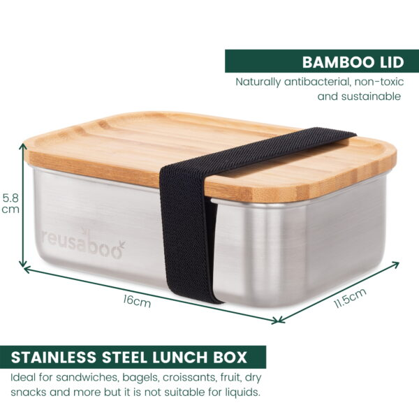 Reusaboo Stainless Steel Lunch Box with Bamboo Lid
