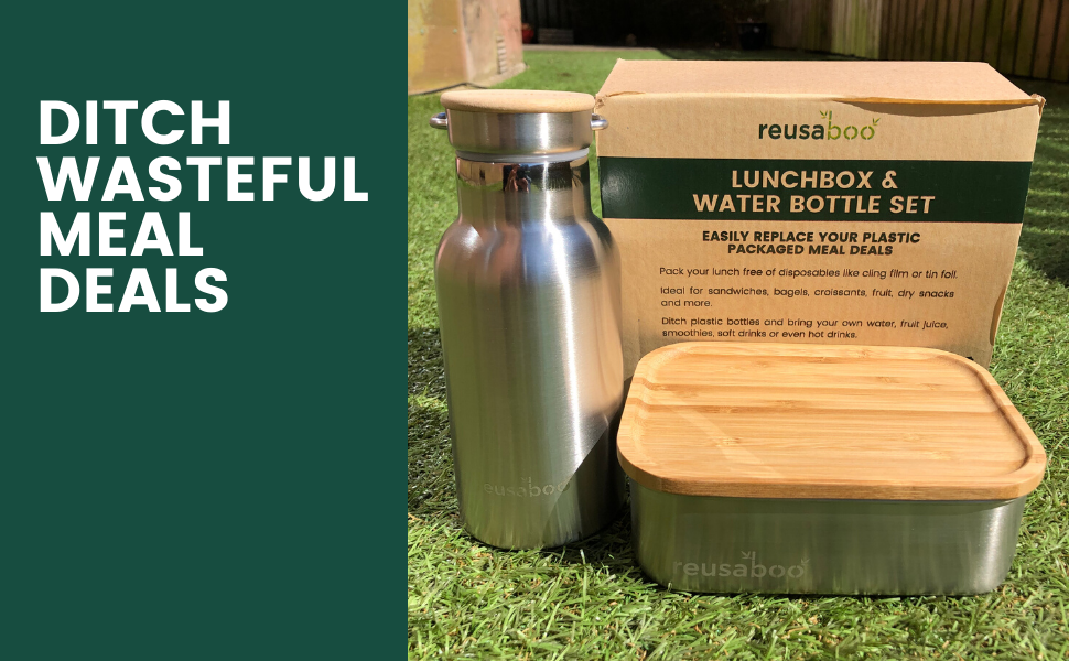 Reusaboo Stainless Steel Lunchbox and Water Bottle Set Ditch Wasteful Meal Deals