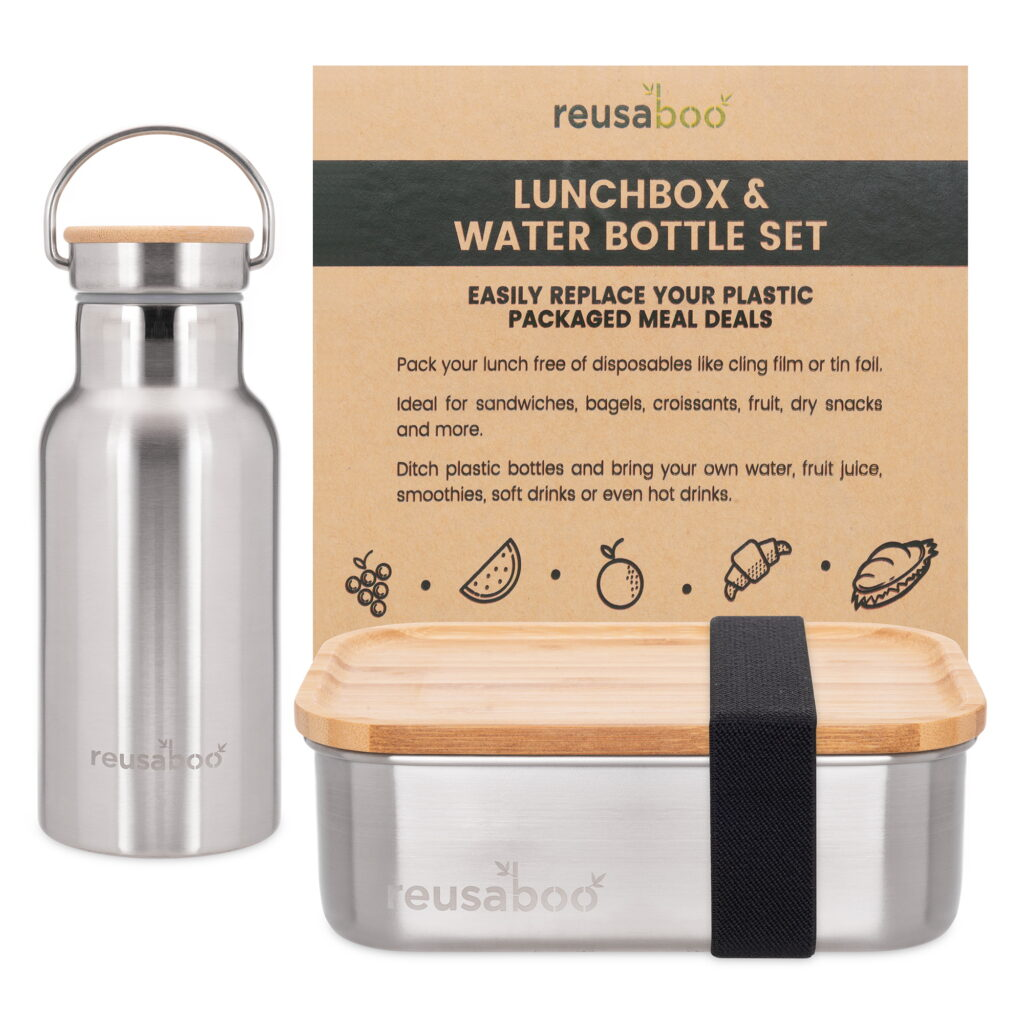 Reusaboo Stainless Steel Lunch Box and Water Bottle with Bamboo Lid and Plastic Free Packaging