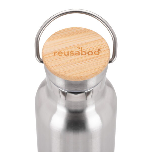 Reusaboo Stainless Steel Water Bottle and Bamboo Lid