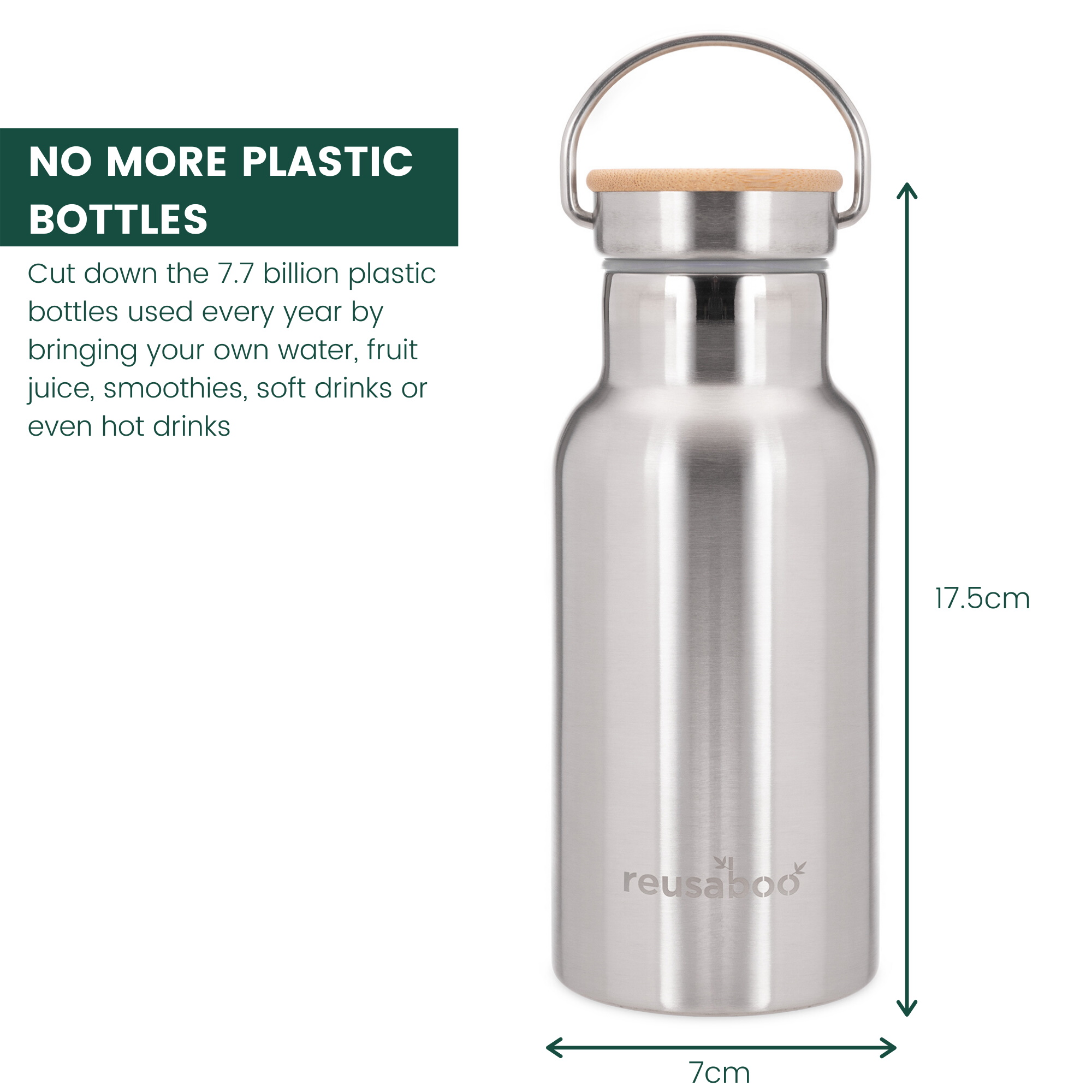 Reusaboo Stainless Steel Water Bottle with Bamboo Lid