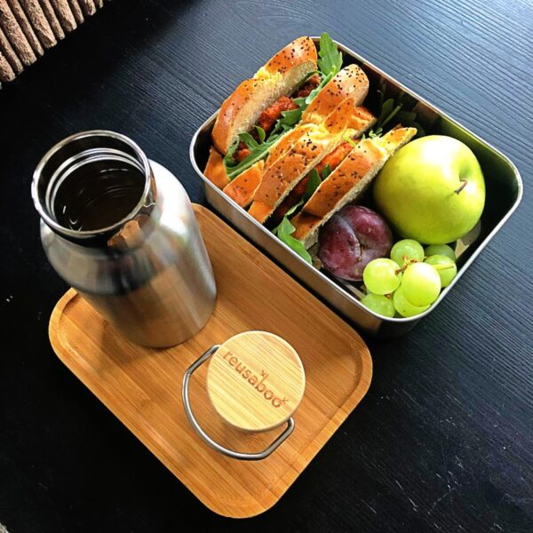 Reusaboo Stainless Steel Lunchbox and Water Bottle with Sandwich and Fruit Filter