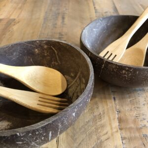 2 x Coconut Bowls with Bamboo Spoon and Fork