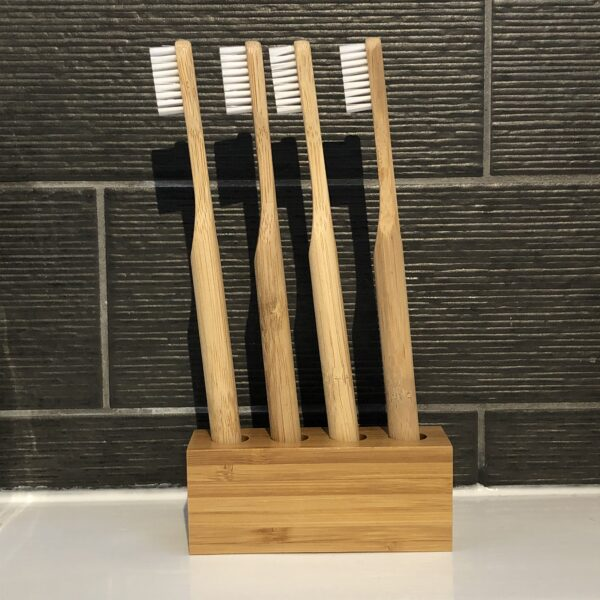 4 Adult Bamboo Toothbrushes and Holder