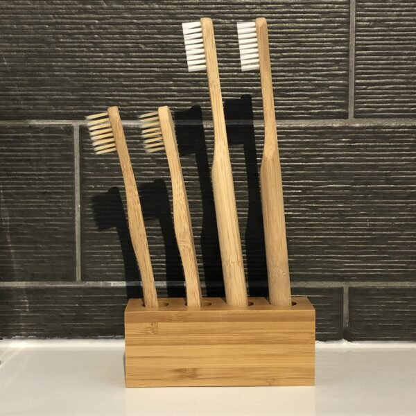 Family Bamboo Toothbrush Set   Toothbrush Holder with 2 Adult and 2 Child Bamboo Toothbrushes   Zero Waste Toothbrush Set