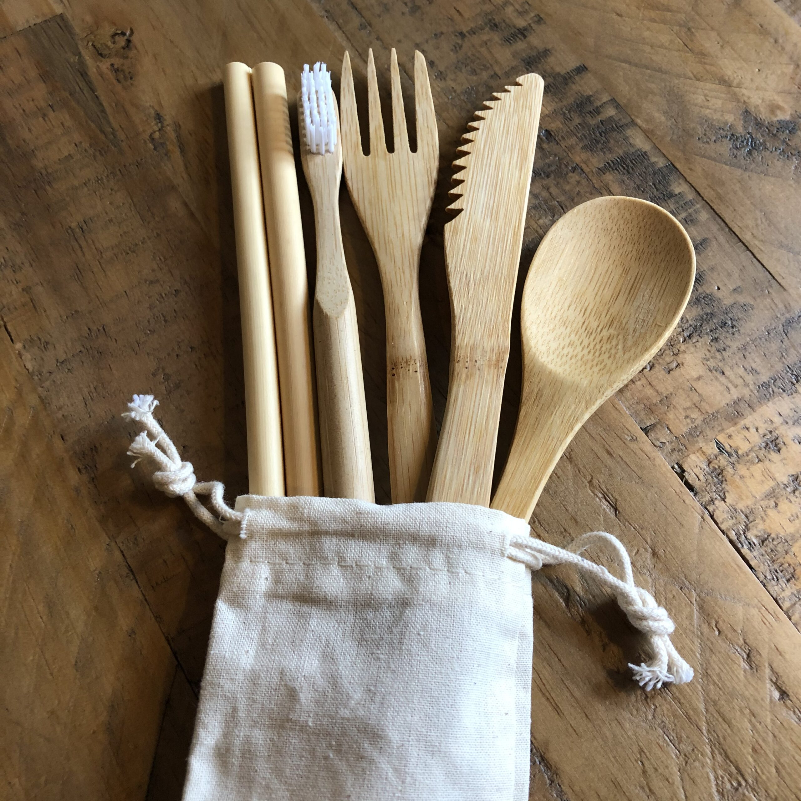 Zero Waste Starter Set   Eco Friendly Gift Set   Bamboo Cutlery, Toothbrush and Straw Set