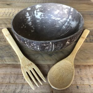 Coconut Bowl with Bamboo Spoon and Fork