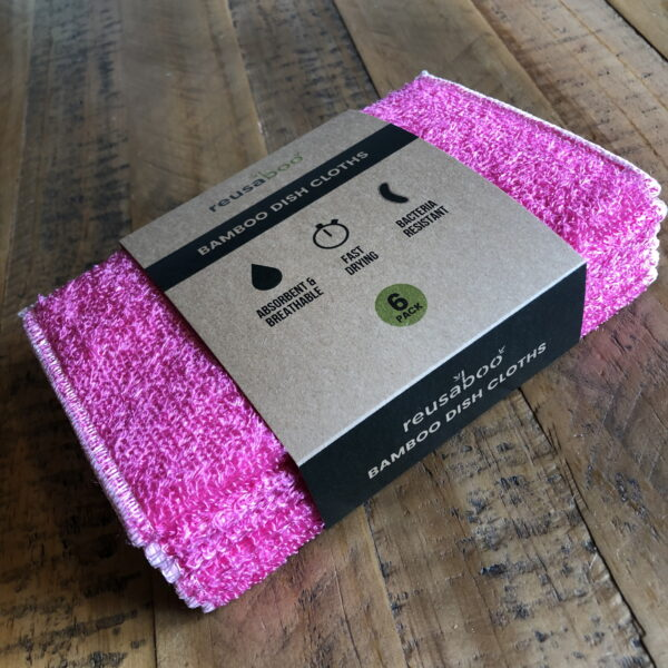 Bamboo Dish Cloths | Pink | Pack of 6
