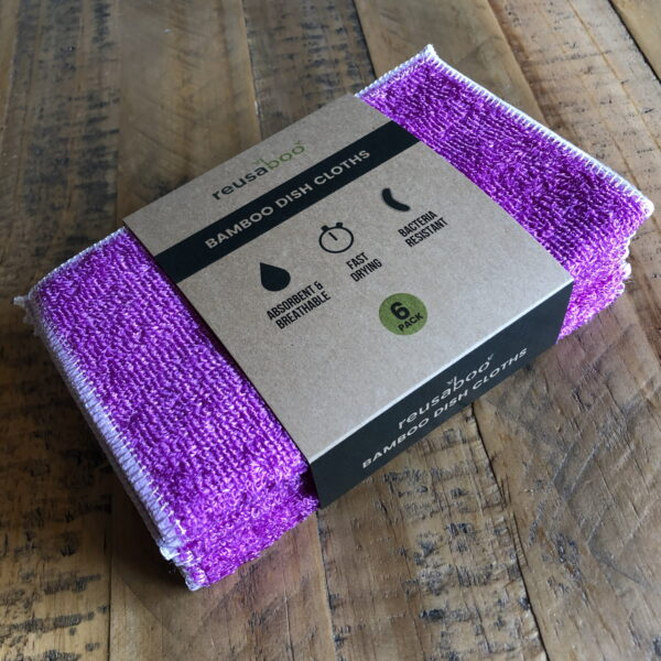 Bamboo Dish Cloths   Purple   Pack of 6