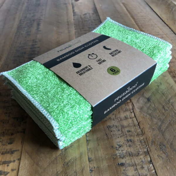Bamboo Dish Cloths | Green | Pack of 6