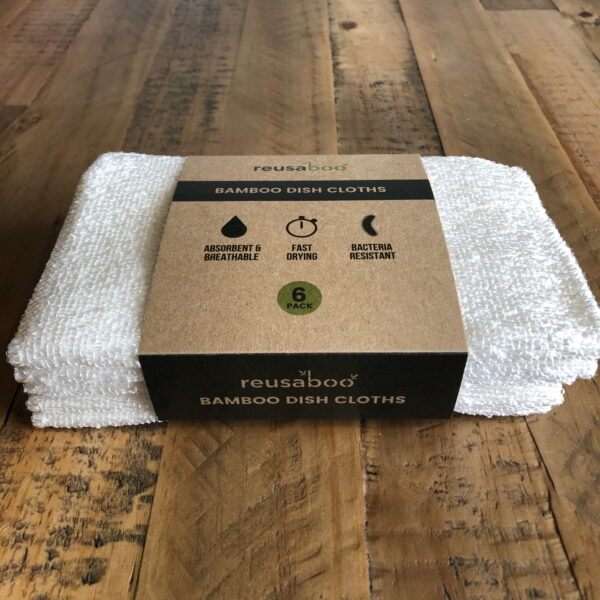 Bamboo Dish Cloths | White | Pack of 6