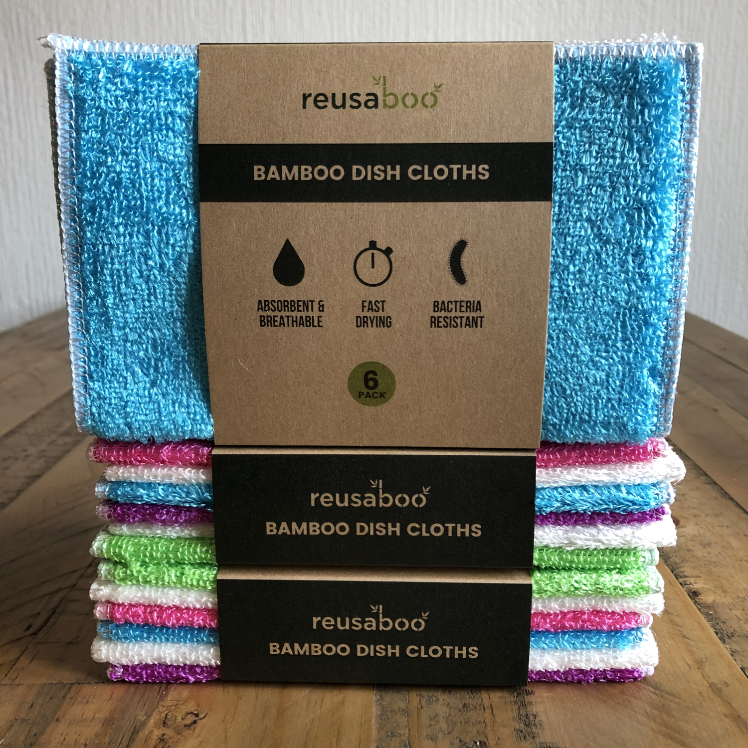 Bamboo Dish Cloths | Multi-Coloured | Pack of 6