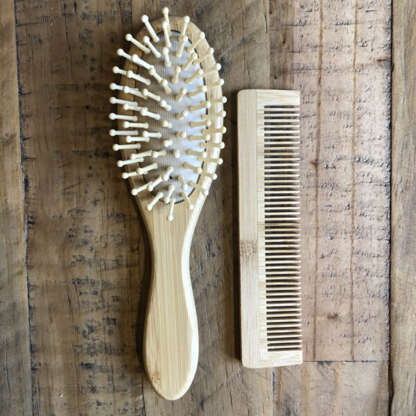 Bamboo Hair Brush and Comb Set   Unisex