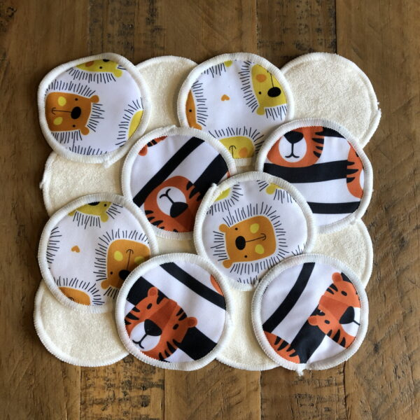 Reusable Bamboo Makeup Remover Face Pads | Lions and Tigers | 16 Pack