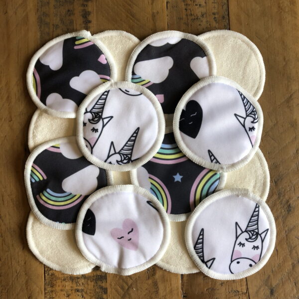 Reusable Bamboo Makeup Remover Face Pads | Rainbows and Unicorns | 16 Pack