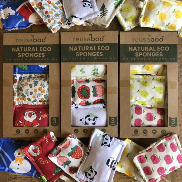 Reusaboo Natural Eco Sponges Three Sets to Choose From