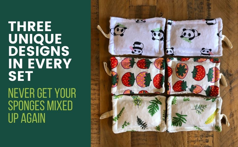THREE UNIQUE DESIGNS SO YOUR SPONGES NEVER GET MIXED UP